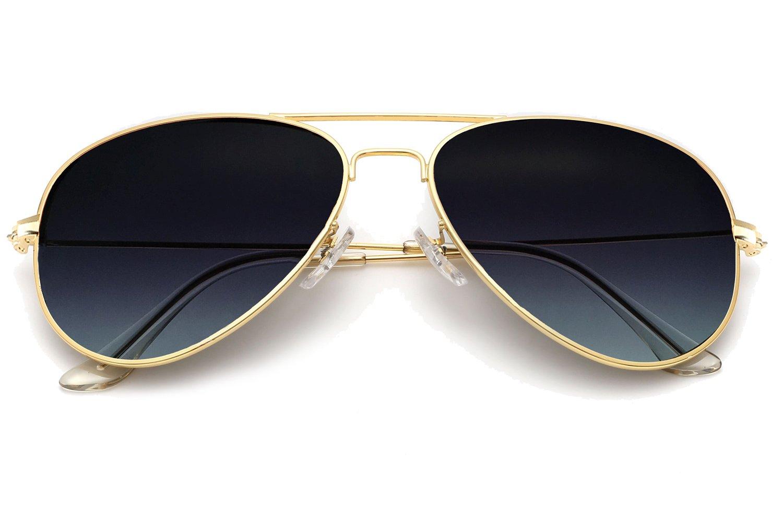 YuFalling Polarized Aviator Sunglasses for Men and Women (gold frame/grey gradient lens, 58)