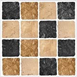 BLACK STONE BROWN CREAM Mosaic tile transfers STICKERS - , peel and stick transform your bathroom or kitchen VERY REALISTIC by LPS