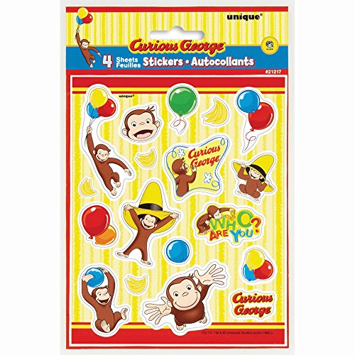 Curious George Sticker Sheets, 4ct by Unique