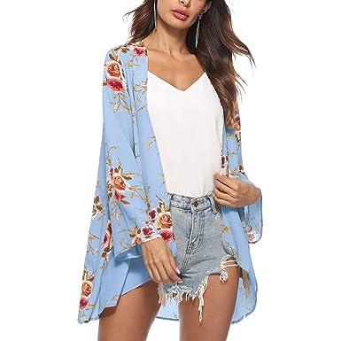 14f78f9b148a41 Exlura Women s Floral Print Chiffon Sheer Kimono Cardigan Casual Open Front  Shawl Cover up Blouse Tops