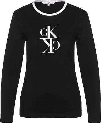 Calvin Klein Mirrored Monogram LS Ringer tee Camisa para Mujer