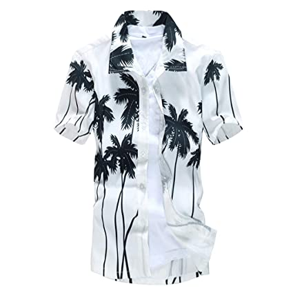 HTOOHTOOH Men Fashion Flower Casual Button Down Shirts Short Sleeve Aloha Hawaiian Shirt