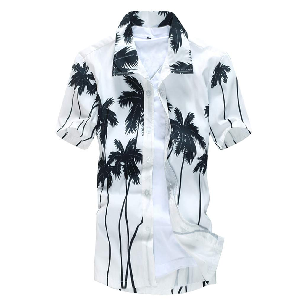 SFE Fashion Shirts,Mens Printed Blouse Casual Short Sleeve Slim Beach Shirts Tops