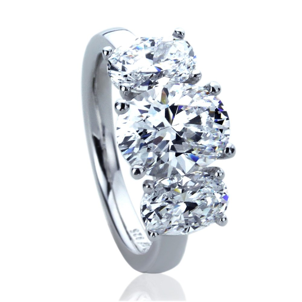 Platinum Plated Sterling Silver 3.5ct Oval CZ Three Stone Wedding Anniversary Ring ( Size 5 to 9 ), 6