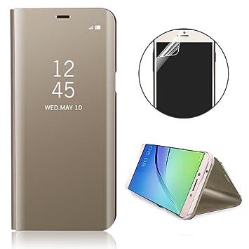 Flip Funda Huawei P20 Lite caso Estuche Mirror Clear View Flip Case Estuche Cover Estuche translúcido