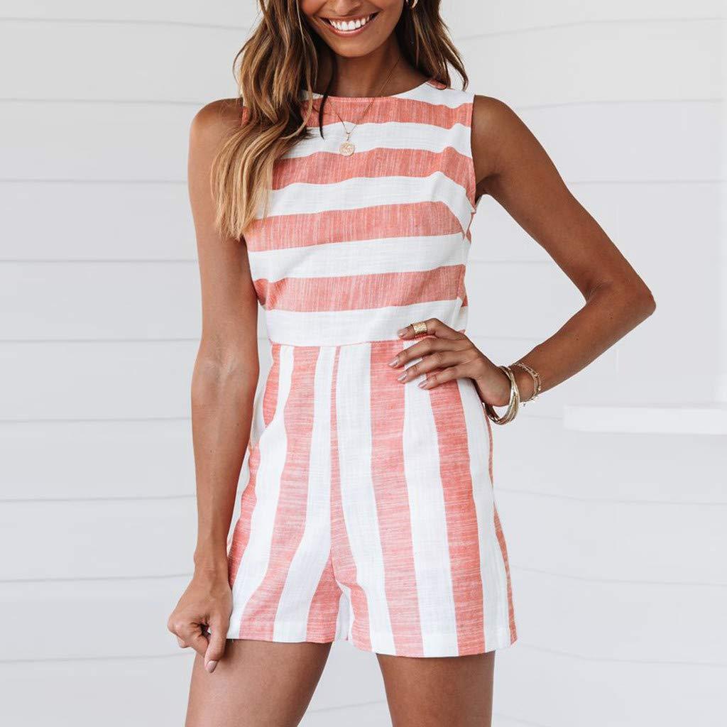 Fashion Womens Boho Stripe O-Neck Casual Sleeveless Short Jumpsuit Romper