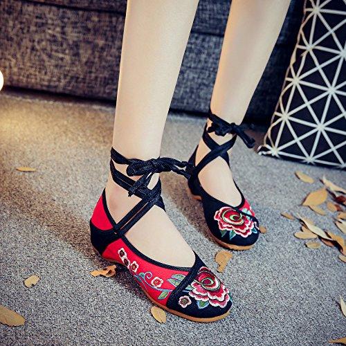 Gamuza De Mn Aumento Tendón Zapatos Bordado Étnico Mujeres Casual Suela Negro Estilo Moda El En Zapatos Cómodo RcWRrAqw4