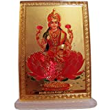 Lakshmi Goddess of Prosperity Desk Dashboard Gold Acrylic Frame Art Hindu Altar Yoga Meditation Accessory Gift