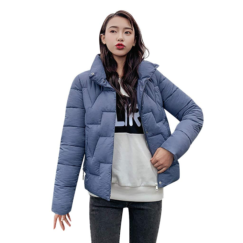 Lefthigh Women Outerwear Solid Color Long Sleeve Hooded Pockets Cotton-Padded Coat Winter Jacket by Lefthigh