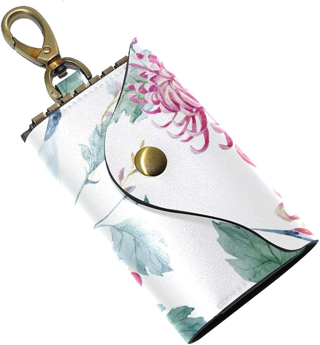 KEAKIA Watercolor Crane Pattern Leather Key Case Wallets Tri-fold Key Holder Keychains with 6 Hooks 2 Slot Snap Closure for Men Women