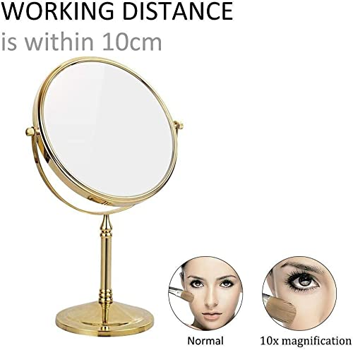8 Inch Double Sided Standing Makeup Mirrors 10X 7X 5X 3X Magnification Regular Professional 360 Rotating Brass Vanity Mirror Color Gold, Size 10X