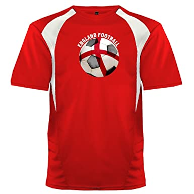 ec9d507e14e Custom England Soccer Ball 2 Jersey Adult 2X-Large in Scarlet and White