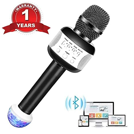 Wireless Bluetooth Karaoke Microphone for Kids Friends Portable KTV Karaoke  Machine with Speaker Recording Singing Parties Light Perfect for iphone