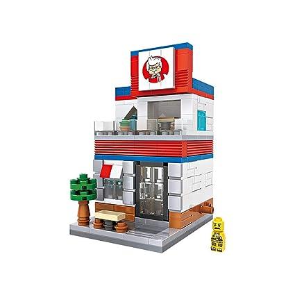 AHWZ Granule Building Blocks Mini Street View Blocks Childrens Educational Toys Assembled Micro Blocks Fried Chicken Shop,1605friedchickenshop