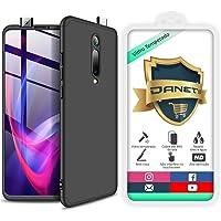 Kit Capa Capinha Anti Impacto 360 Full Para Xiaomi Mi 9t Redmi K20 e K20 Pro - Case Acrílica Fosca Com Película De Vidro Temperado - Danet (Todo preto)