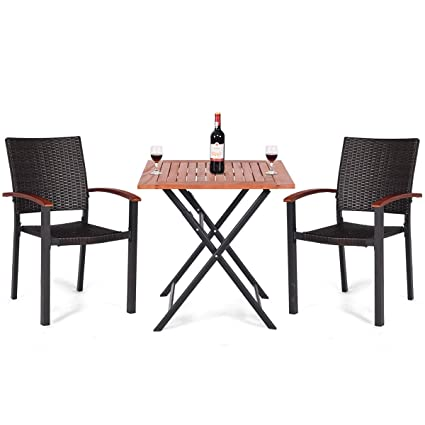 71241b94226d Amazon.com: 3PCS Patio Outdoor Garden Dining Set Folding Table ...
