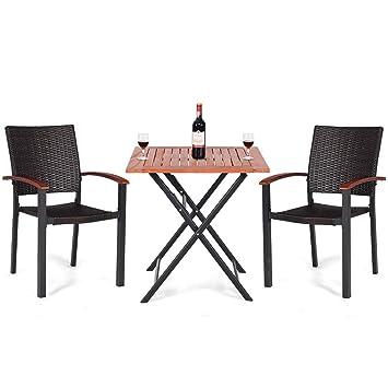 Amazon.com: Juego de comedor plegable de 3 piezas para patio ...
