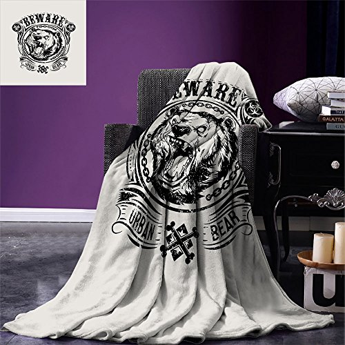 smallbeefly Bear Digital Printing Blanket Beware of Urban Bear Growling Wild Animal with Chains and Vintage Tribal Motifs Summer Quilt Comforter Pale Grey Black