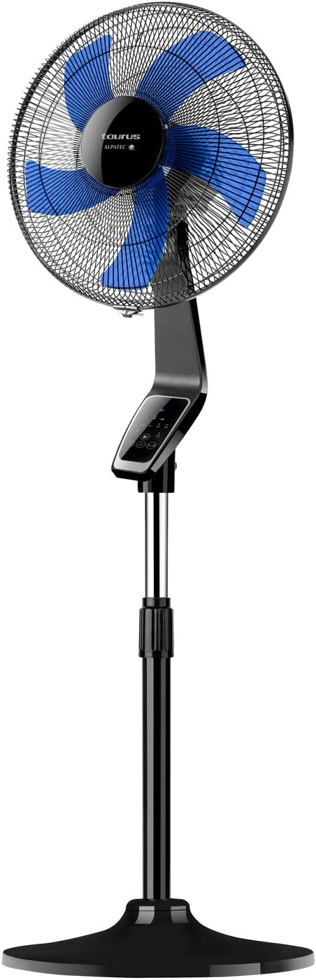 Taurus Boreal 16CR - Ventilador de pie digital, Altura hasta 130cm, 5 aspas, 40cm de diámetro, 3 velocidades, Temporizador 7,5h, Sistema de oscilación e inclinación, Base redonda, Silencioso 60 dBA