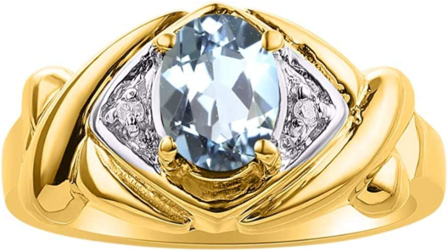 March Aquamarine Mens Genuine Color Stone Ring Sterling Silver or Gold Plated