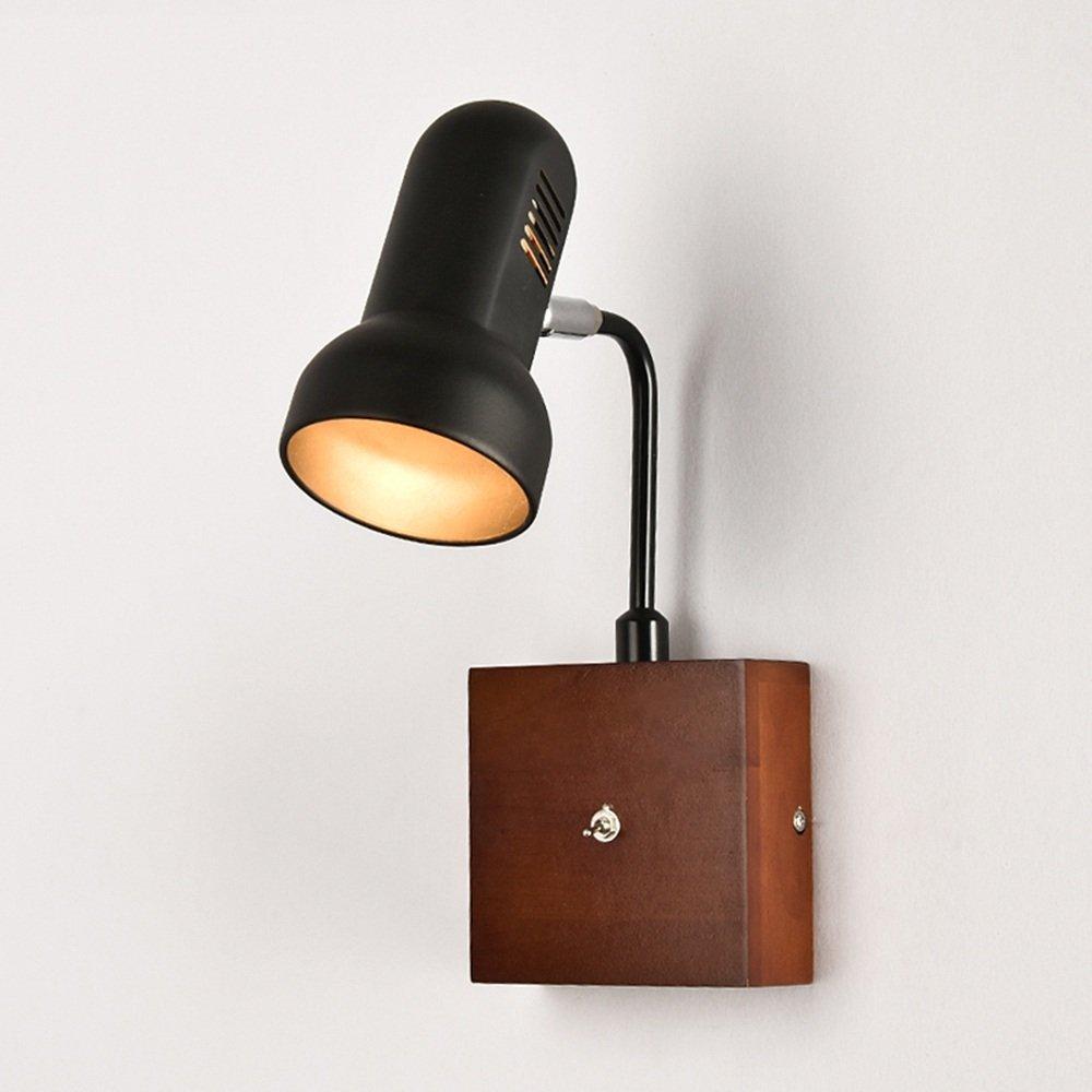 Wandleuchte LED Holz Kunst Zwei Farben Optional Study Zimmer Schlafzimmer Nachttisch Wohnzimmer Gang Dekorative Beleuchtung (Farbe   Schwarz)