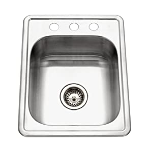 "Houzer A1722-7BS-1 ADA Glowtone Topmount Stainless Steel 17"" x 22"" Sink with 3 Holes"