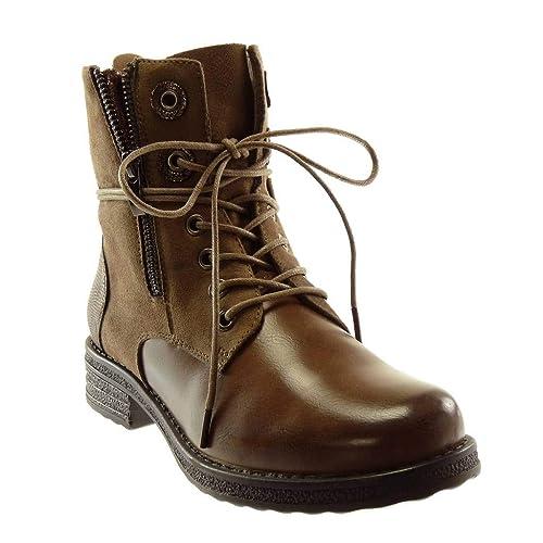ddba36d02e65e Angkorly - Women s Fashion Shoes Ankle Boots - Booty - Combat Boots - Biker  - bi