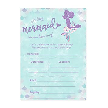 Amazon mermaid baby shower invitations for a girl 20 ct 5x7 mermaid baby shower invitations for a girl 20 ct 5x7 cards with pink purple and filmwisefo
