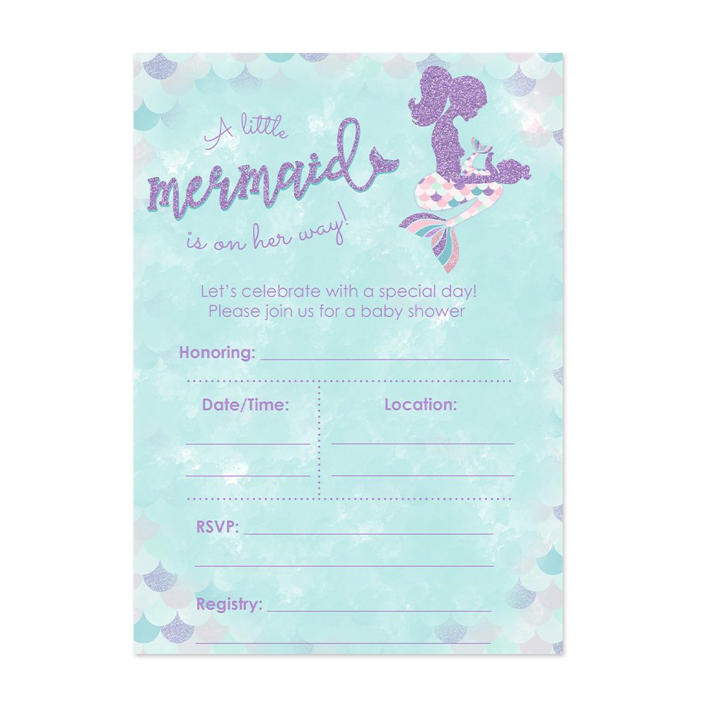 Mermaid Baby Shower Invitations for a Girl 20 Ct. 5x7 Cards with Pink Purple and Cyan Accents - Fill in Style - Includes White A7 Envelopes - Girl Baby Shower