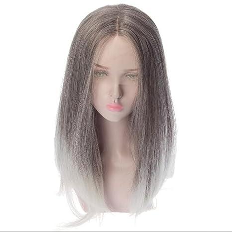 Amazon.com: JIN Gradient Peluca de pelo recto encaje frontal ...