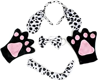 Petitebelle Dalmatians Dog Headband Bowtie Tail Gloves Costume ...