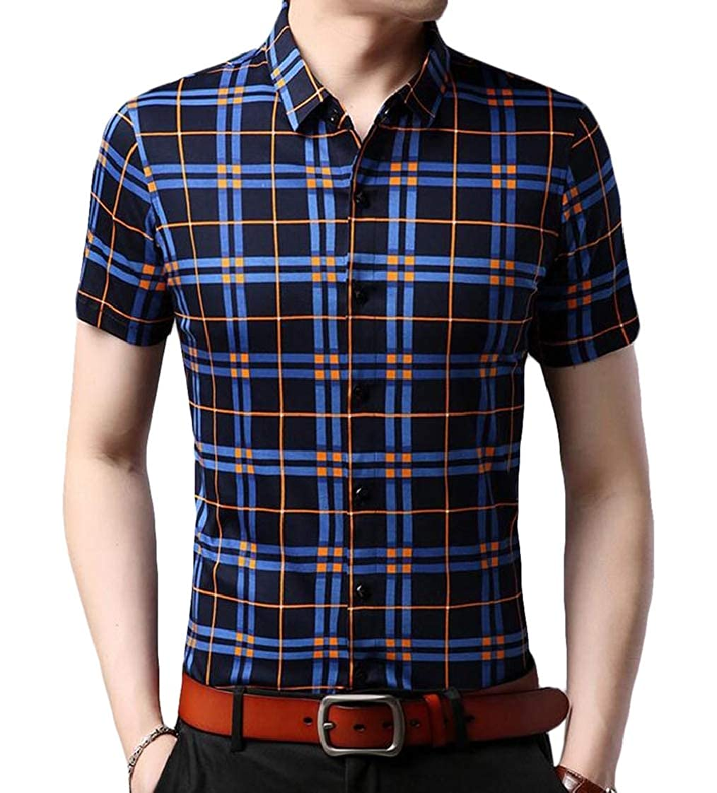 Prsun Men Printing Checkered Leisure Non-Iron Short Sleeve Button Down Shirts