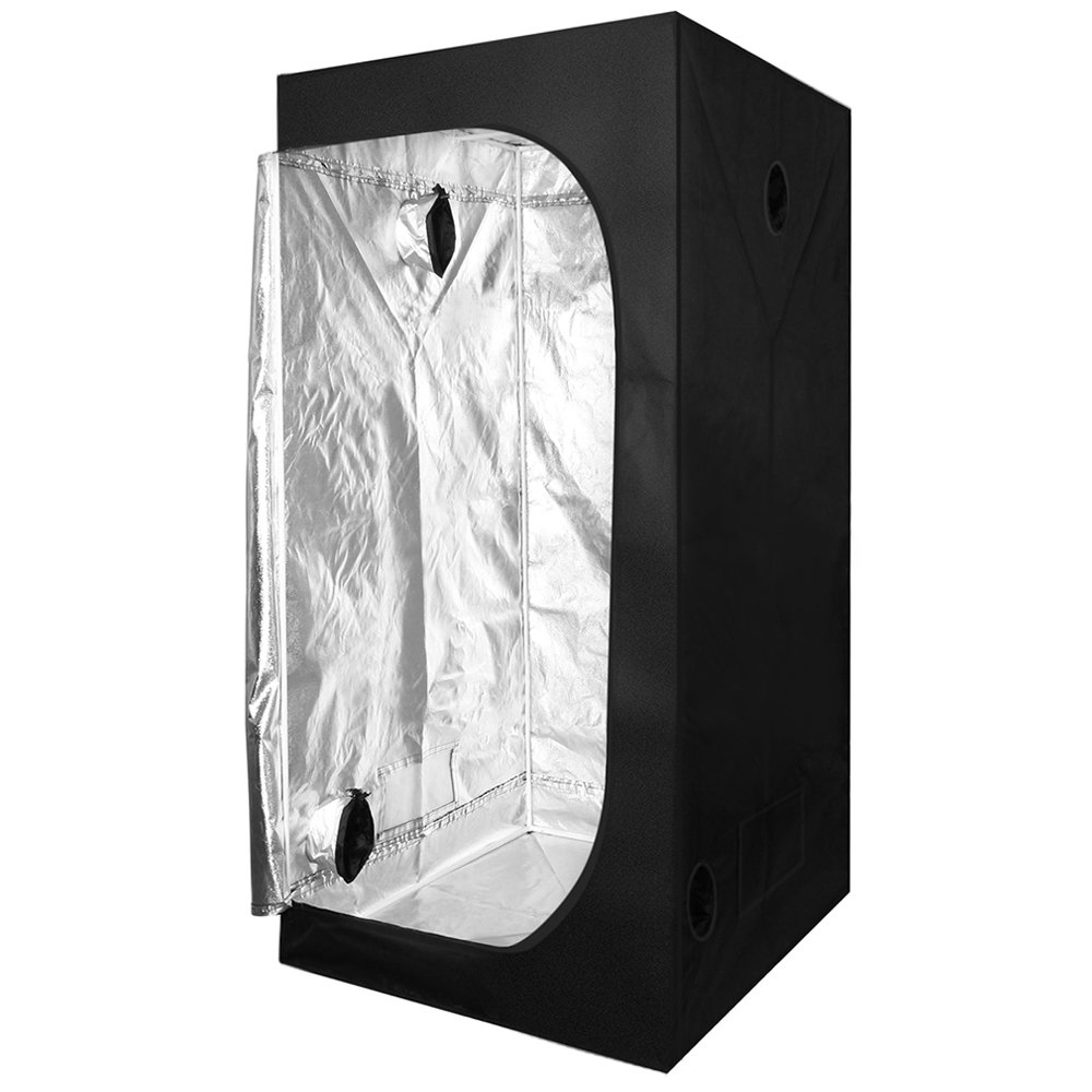 KinGrow 48''x48''x80'' Reflective 600D Mylar Hydroponic Grow Tent with Observation Window and Floor Tray for Indoor Plant Growing by KinGrow