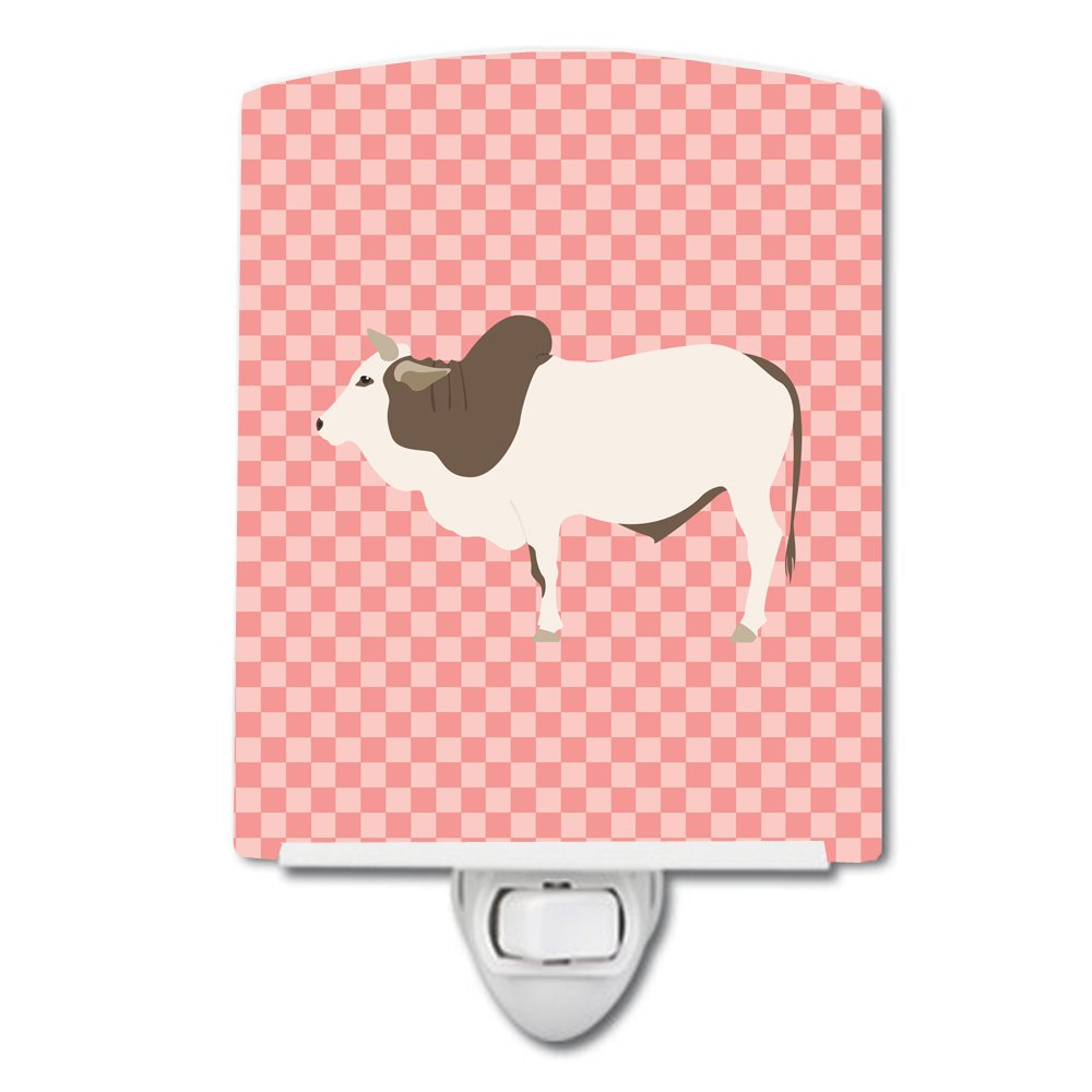 Carolines Treasures Malvi Cow Pink Check Ceramic Night Light 6x4 Multicolor
