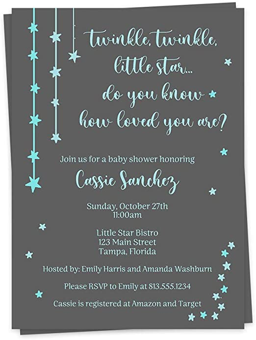 Twinkle Twinkle Little Star Party Decor SG8 Editable Name Cards Boy Baby Shower Place Card Instant Download