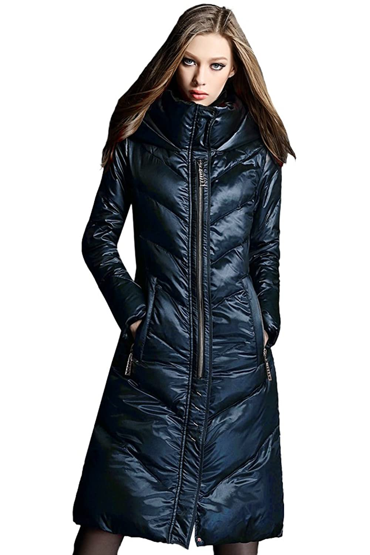 queenshiny Damen Lange Daunenjacke Mantel Jacke mit Kapuze unterhalb der Knie Warme Winter