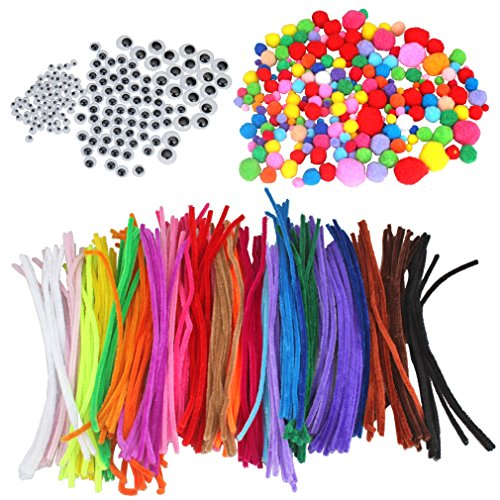 FASOTY 560 Pieces Craft Pipe Cleaners Set Chenille Stems Includes 240 Pcs 24 Colors Chenille Stems, 120 Pcs 3 Size Wiggle Googly Eyes and 200 Pcs Pom Poms for Craft DIY Art Supplies