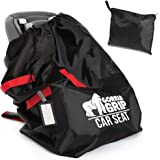 Gorilla Grip Car Seat Bag Backpack with Pouch, Free Luggage Tag, Universal Size Airplane Travel Bags Fits Most Carseats, Adjustable Straps, Gate Check, Flying with Baby, Easy Carry, Red Black Straps
