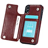 iPhone X Wallet Case with Card Holder,Dassions Premium PU Leather Kickstand Card Slots Case,Double Magnetic Clasp and Durable Shockproof Cover For iphone X/10 (Brown) For Sale