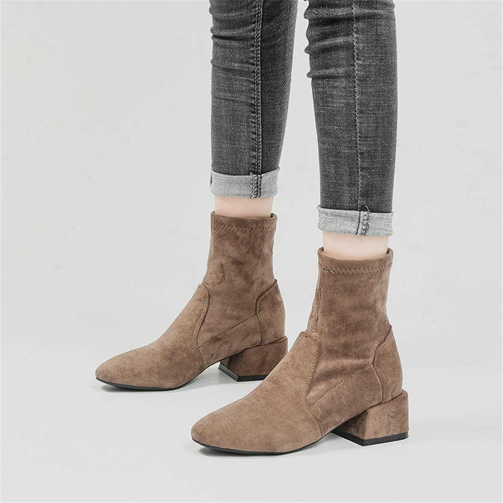 Eeayyygch Eeayyygch Eeayyygch High Heels Warme elastische Stiefel weiblich bequem in der Tube Martin Stiefel weiblicher Kopf in der Ferse (Farbe   37, Größe   Grau) 390826