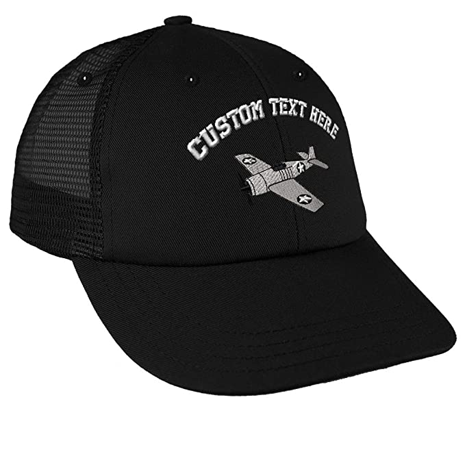 Amazon.com  Custom Text Embroidered Military Plane F6 Hellcat Unisex Adult  Snaps Cotton Low Crown Mesh Golf Snapback Hat Cap - Black 22c528d4b7c