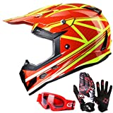 GLX Youth & Kids Helmet for ATV Motocross Dirt Bike Off Road DOT+Gloves+Goggles (M)