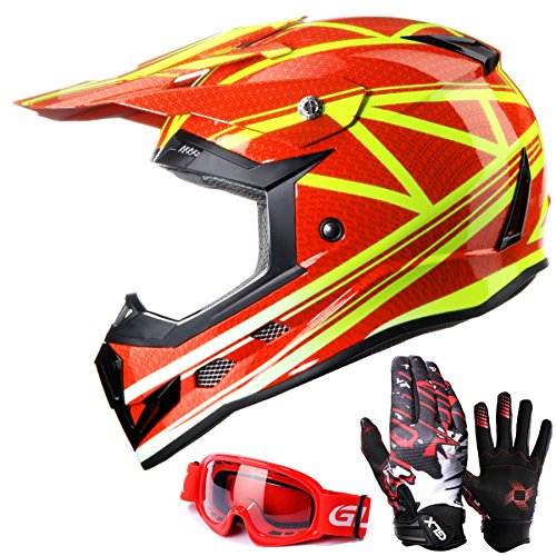 GLX Youth Kids Dirt Bike ATV Motocross Helmet Red [DOT]+Gloves+Goggles (L)