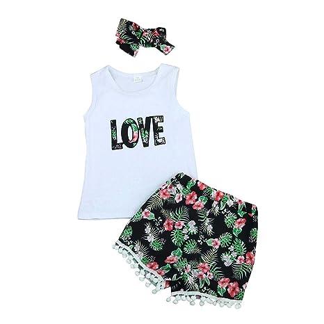 Feixiang Disfraz de niña Confort Baby Summer Love Top Camiseta + Conjunto de Ropa de Sombreros