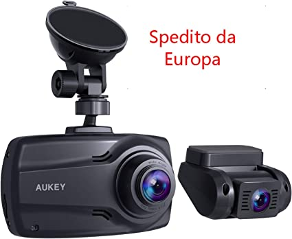 Full HD 6-lane 170//° obiettivo grandangolare fotocamera anteriore e posteriore Aukey 1080p Dual Dash Cam con schermo da 6,9/cm G-Sensor e doppia porta caricatore auto