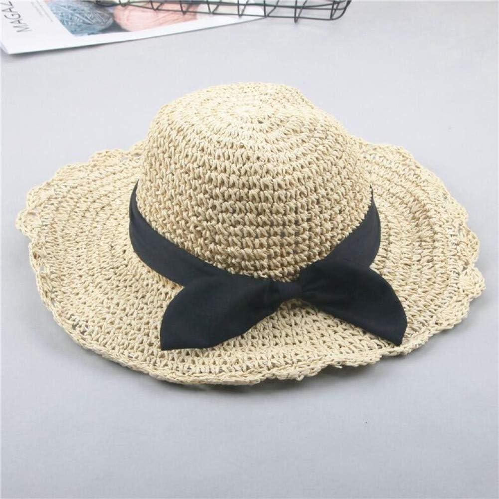 GQQ Sombrero para el sol, mamá, niña, sombrero de paja, verano, padre e hijo, visera, tejido a mano, paja, viaje, moda, playa, sombrero para el sol,Beige para niños