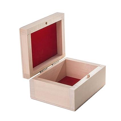 SEARCHBOX Pequeña Caja de Almacenamiento de Madera con Tapa abatible/ decoupage/sin Pintar/
