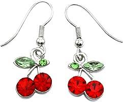 Green Leaf Red Fruit Cherry Dangle Earrings Red Green Rhinestones Fashion Jewelry