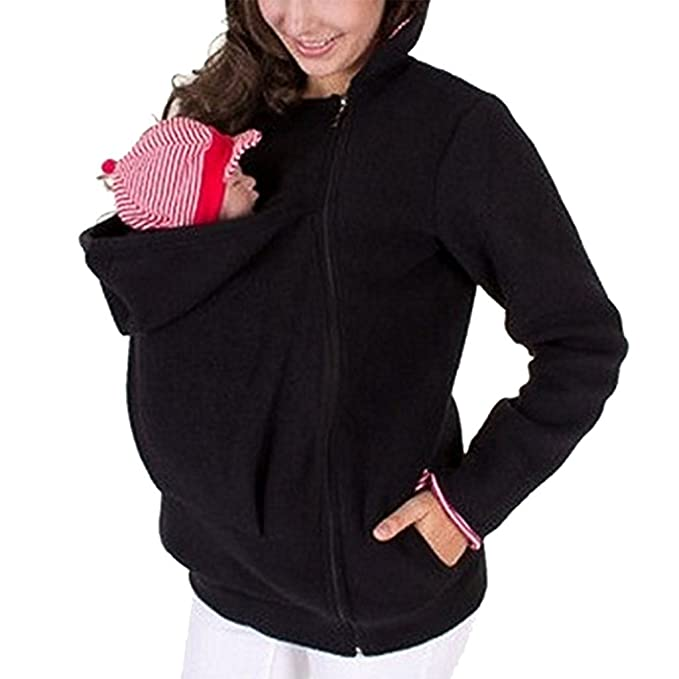 0fbc0c5b4db YINUOWEI Women Maternity Fleece Hoodie Kangaroo Sweatshirt Jacket Baby  Carrier  Amazon.ca  Clothing   Accessories
