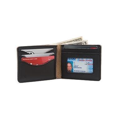 fd93b6d3999e Medium Full Grain Leather Bifold ID Window Wallet for Men Includes 100
